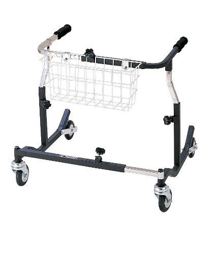 """Drive Medical PE 1000 XL Pediatric Anterior Safety Roller - Black by Drive Medical. $390.77. Applying pressure to the handlebar activates braking mechanism. When brake is engaged, the brake stopper hits the wheel and the wheels cannot roll. Ideal for patients with limited hand function and/or limited cognizance. The Safety Roller halts in step with the patient and the braking mechanism automatically engages when patient stumbles.Height adjustable in 1"""" increments.Adju..."""