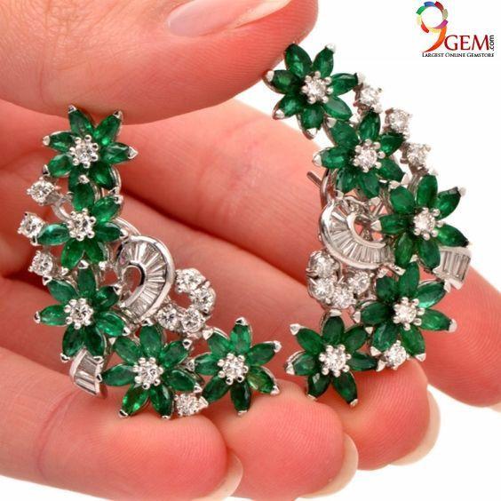 Emerald diamond earrings love