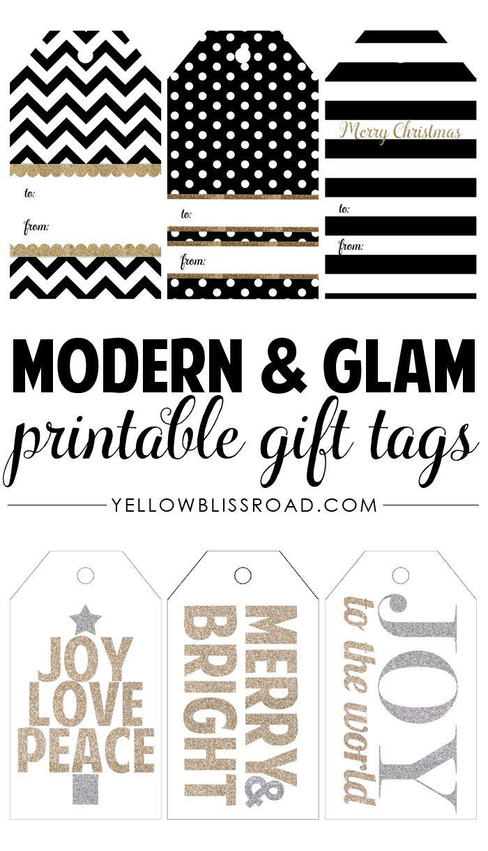 Modern & Glam Free Printable GiftTags