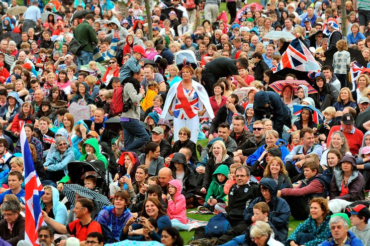 London 2012 - a section of the 26,000-strong Eton Dorney crowd who willed Team GB rowers Helen Glover and Heather Stanning to take gold in a blistering Women's Pairs Final performance.