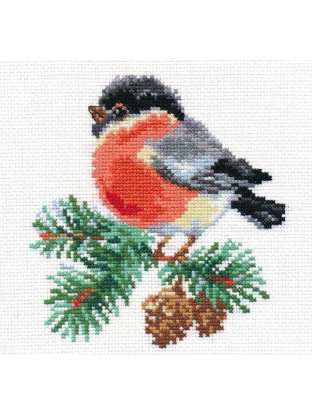 Набор для вышивания Снегирек  14х14 см Алиса. Цвет красный, черный, светло-зеленый, серый, светло-серый, светло-желтый.