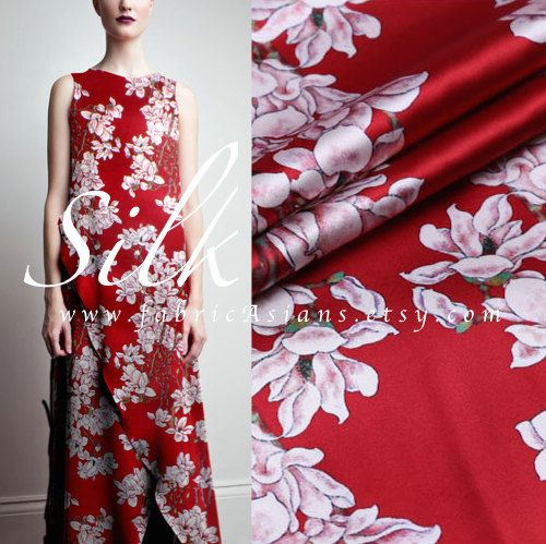 """Red Chinese Silk. Red Floral Silk. Orchid Silk Fabric. Digital Printed Silk. Stretch Satin. Chinese Silk. 42"""" wide. 19momme. SSB100643"""
