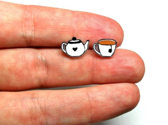 Lil' Teapot & Teacup, Post Earrings.  I feel like these would be pretty simple to make with shrinky dinks.