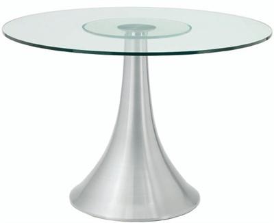 Satellite Dining Table  spun aluminum base, satin fi nish & chrome flange