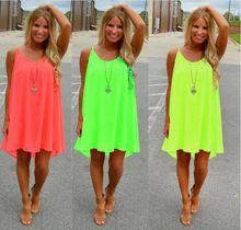 2016 mujeres playa del verano vestido de fluorescencia gasa vestido de verano para mujer mujeres visten vestido vestido tallas grandes ropa