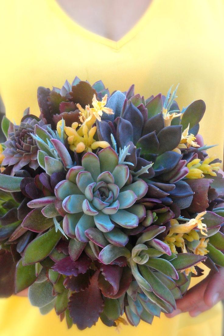 succulent wedding bouquet  rustic bouquet  alternative