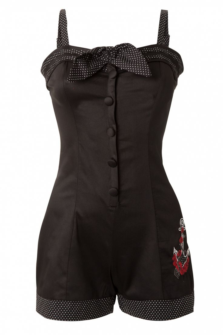 Vixen - 50s Anchors and Rose Playsuit