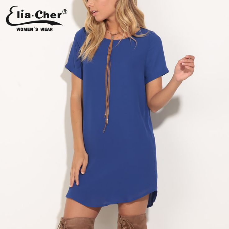 Elia-Cher Brand Casual Loose Fitting Dress With Round Neck //Price: $28.45 & FREE Shipping //     #hashtag3