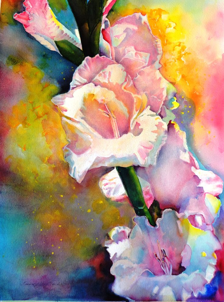30 x 22 Watercolor painting, Gladiolus Watercolor on #300 ...