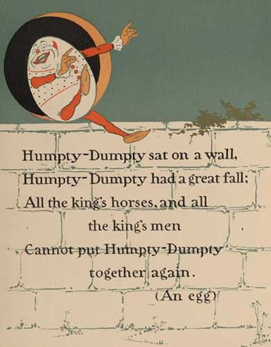The curious origins of a famous rhyme Humpty Dumpty was originally a drink, then he became an egg in a nursery rhyme. Quite how this happened, nobody seems to know, but it did. The name 'Humpty-dum…