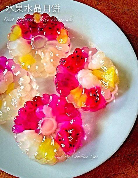 Christina's Lifestyle : 水果水晶月饼 Fruit Konnyaku Jelly Mooncake