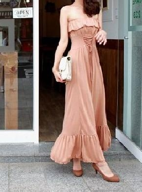 Ladies Bohemian Style Tube Boat Neckline Pure Color Long Dress