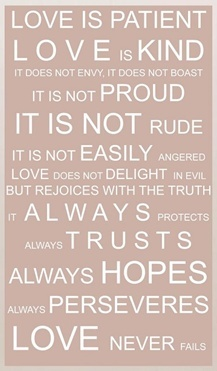 love is PATIENT and KIND, NOT proud. It is NOT easily angered. It REJOICES with truth and ALWAYS perseveres. needed this today.