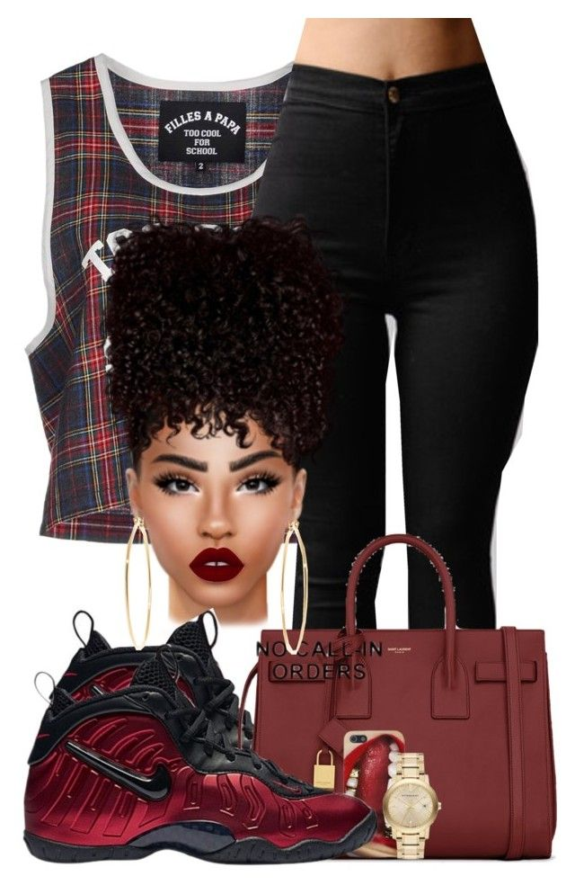 """""""Super Rich Kid"""" by chiamaka-ikaraoha ❤ liked on Polyvore featuring Filles à papa, NIKE, Yves Saint Laurent, Lime Crime, Brooks Brothers and Burberry"""