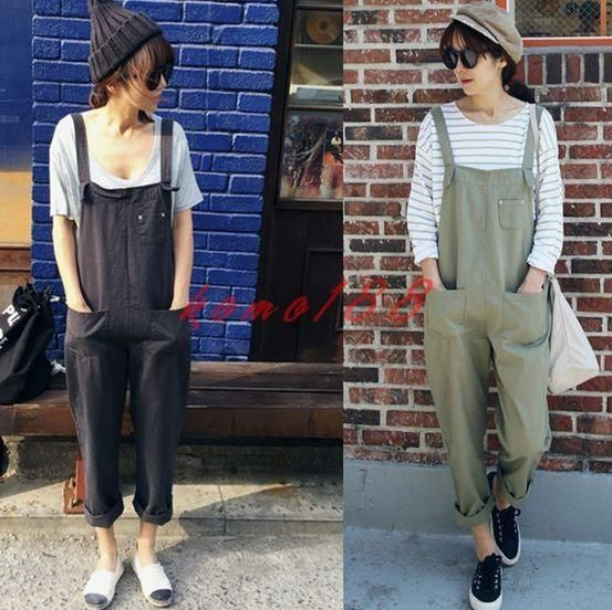 Preppy Girl Womens Casual Jumpsuit Loose Strappy Rompers Overall Cotton Pants