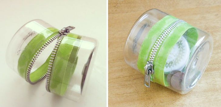 Plastic Bottle Zipper Container http://www.handimania.com/diy/plastic-bottle-zipper-container.html