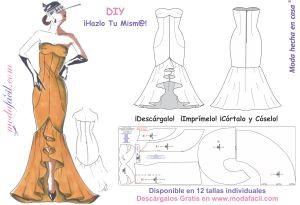 Patrones de costura: Elegante vestido de fiesta flamenco