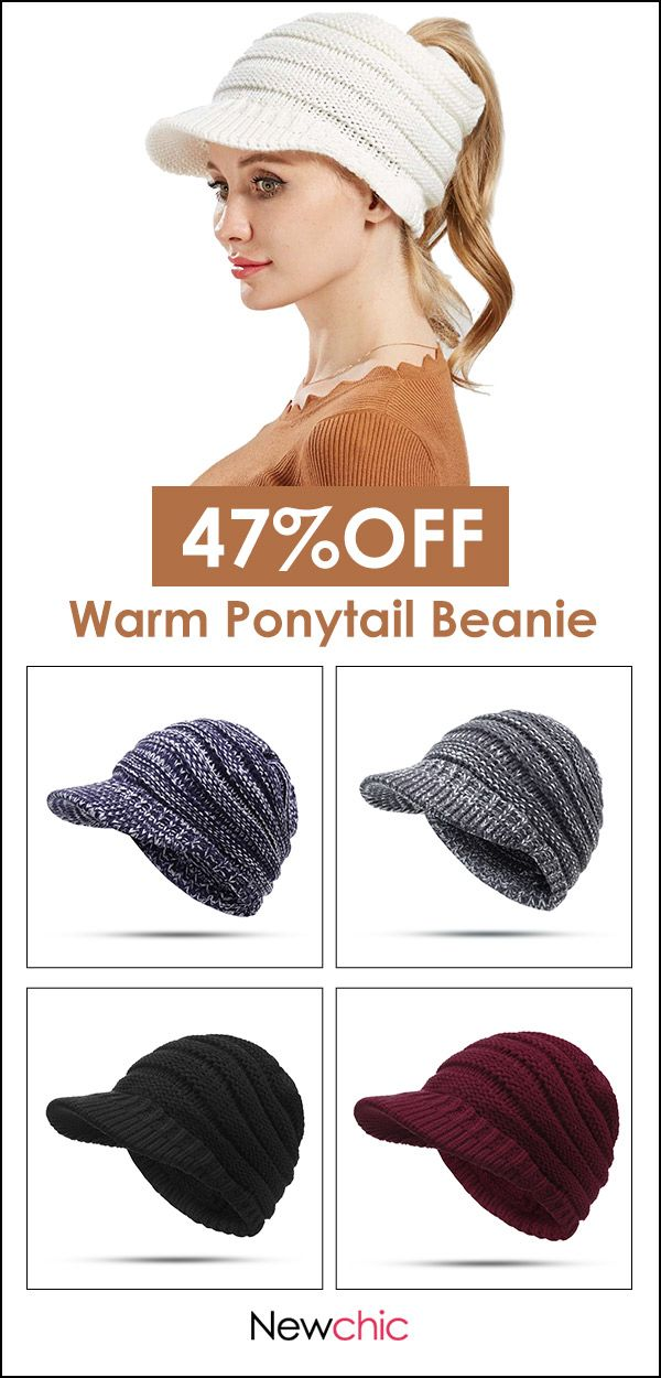 Women Soft Woolen Multifunctional Hat Messy Bun Hat Warm Elastic