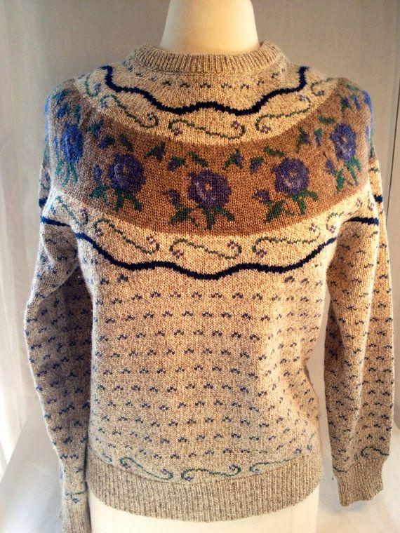 EDDIE BAUER Vintage WOOL Floral Sweater Women's by rumpledsuit, $30.00