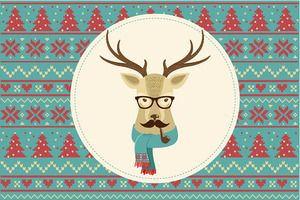 Vintage Hipster Christmas animals Clipart