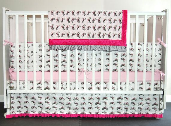 Motocross Baby Dirt Bikes Pink Nursery Baby by KlinkerMade on Etsy