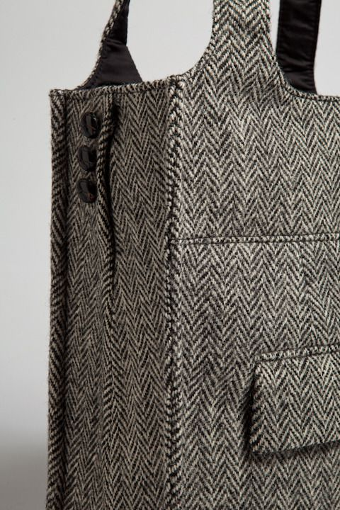 Recycled suit jacket. Re-using pockets are great. More