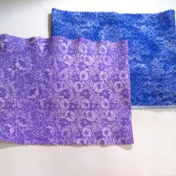 "2 Sparkly Bandeau Tops Floral print tube tops. Violet & Lilac Measured flat and unstretched 13"" across 10 1/2"" long On 36"" x 31"" x 36"" mani step by step Tops Crop Tops"