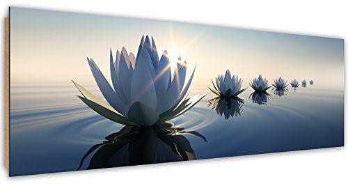 Tableau decoration murale Lys de fleurs 200 x 100 cm XXL Impression sur Toile Salon Appartment Bleu 4 Parties pr/êt /à accrocher 008741a