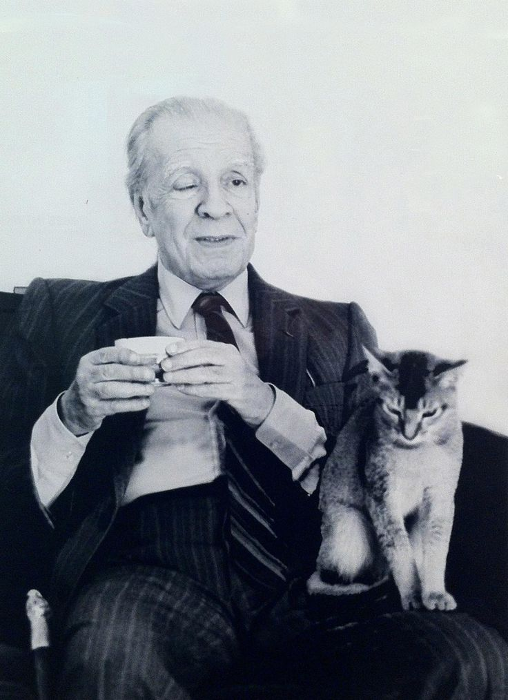 Jorge Luis Borges. Argentine writer, Nobel laureate, master of extremely long sentences and cat lover.1899-1986