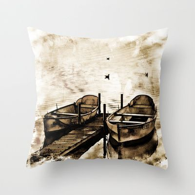 Twin Boats II Throw Pillow by AngelEowyn. $20.00