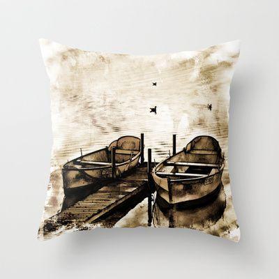 Twin Boats II Throw Pillow by AngelEowyn. $20.00