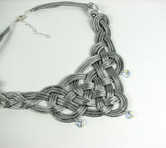 Celtic knot necklace Satin cord textile knotted por ShopPretties