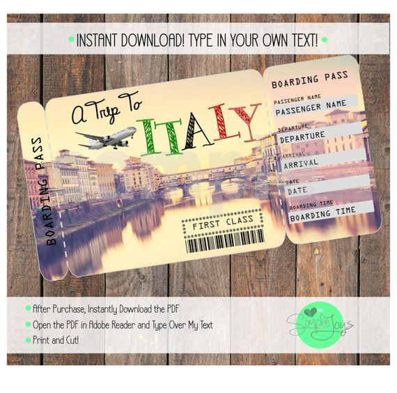 Printable Ticket To Italy Boarding Pass Surprise Vacation Etsy Tickets To Italy Printable Tickets Surprise Vacation