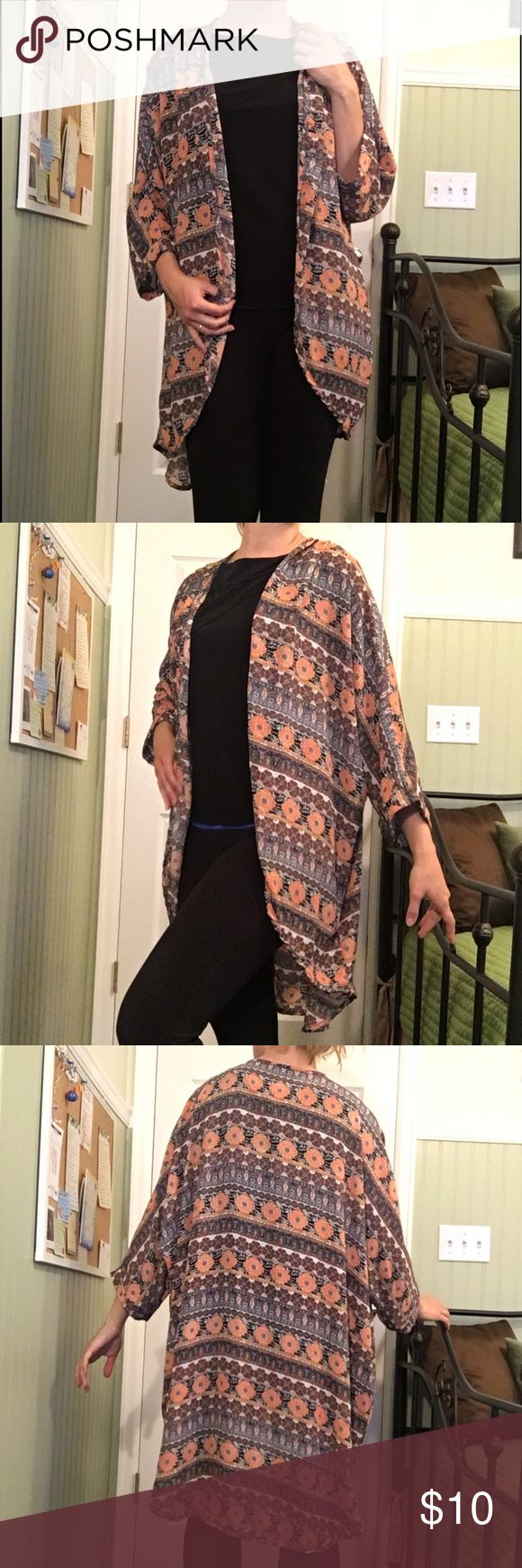 """Pretty Detailed Kimono Re-Posh! This would be perfect for Summer and Spring! The back falls around 30"""" and the sleeves are batwing and 3/4 length. Body Central Sweaters"""