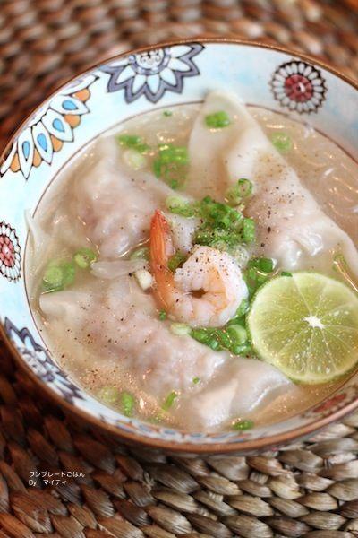 「ベトナム風ワンタン入り春雨スープ」:マイティさん連載:朝・昼・晩おもてなしに!おうちで楽しむ♪ワンプレートごはん:レシピブログ