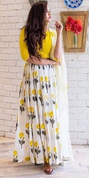 Radiant Yellow Silk Anarkali Suit With Dupatta.