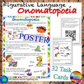 Grade / Year Level :: Primary Education :: Year 3 :: Figurative Language ONOMATOPOEIA UNIT Poster and Task Cards