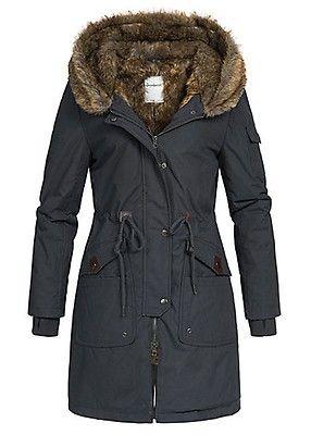 fb3583b55b9026 Seventyseven Damen Winter Mantel Jacke Kapuze Kunstfell 5 Taschen schwarz -  Art.-Nr.