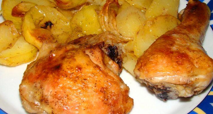 Przepis na udka z kurczaka pieczone w piekarniku z ziemniakami: Jest to jedno z naszych ulubionych dań, szczególne wtedy, kiedy nie mam ochoty długo stać przy piekarniku....