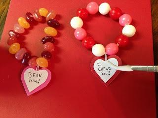 Candy bracelets/necklaces on dental floss thread!