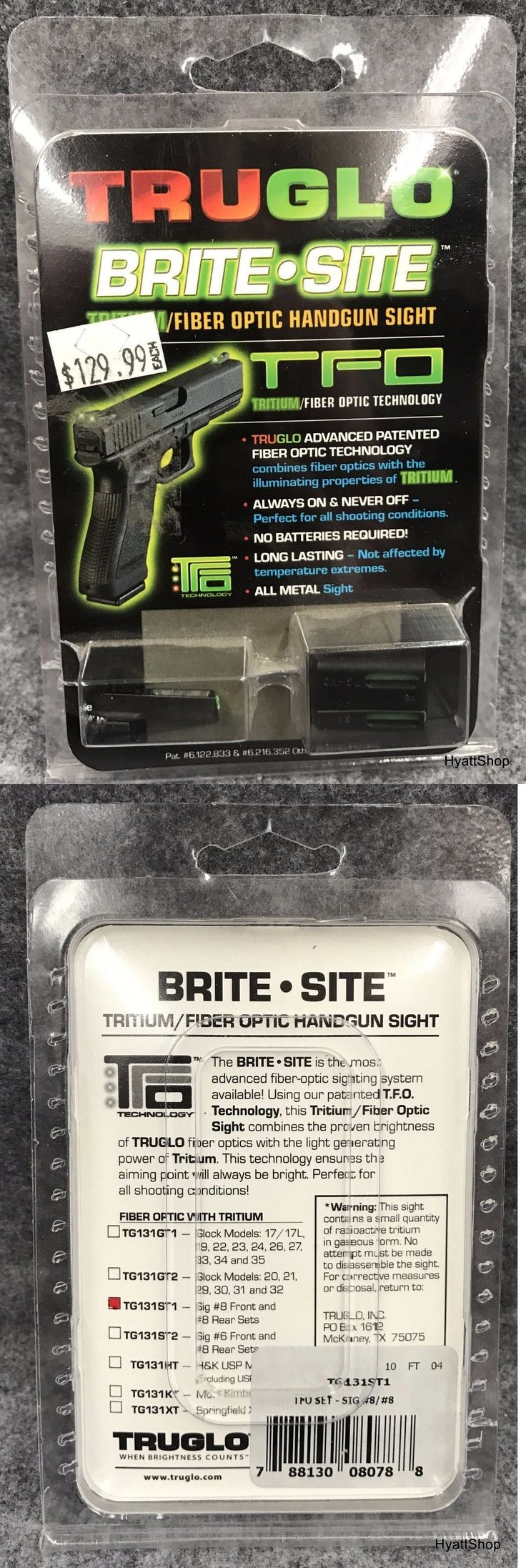 Other Hunting Scopes and Optics 7307: Truglo Brite-Site Tritium Night Sights Sig #8 Front Rear Green Tg131st1 2010 -> BUY IT NOW ONLY: $72.99 on eBay!