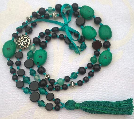 Happymala necklace black and turquoise glass/stone by happymala