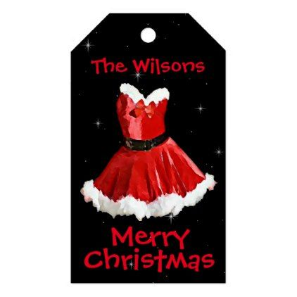 Cute Mrs Santa Dress Christmas Gift Tags - christmas craft supplies cyo merry xmas santa claus family holidays