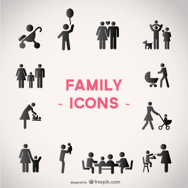 Family vector icons set Free Vector