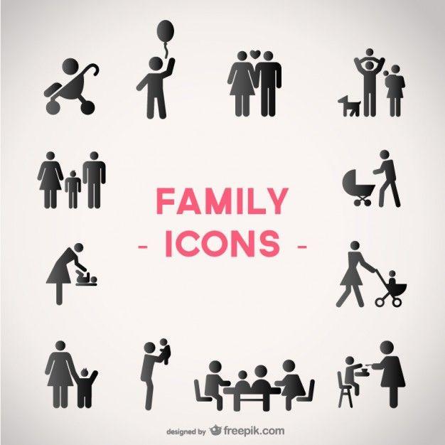 ícones do vetor da família definido Vetor grátis