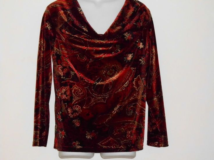 Womens Coldwater Creek Women Size L Large Red Long Sleeve Top Blouse Work Casual #ColdwaterCreek #pullover #work