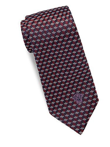 Versace Men's Cube Print Italian Silk Tie, OS (Red)