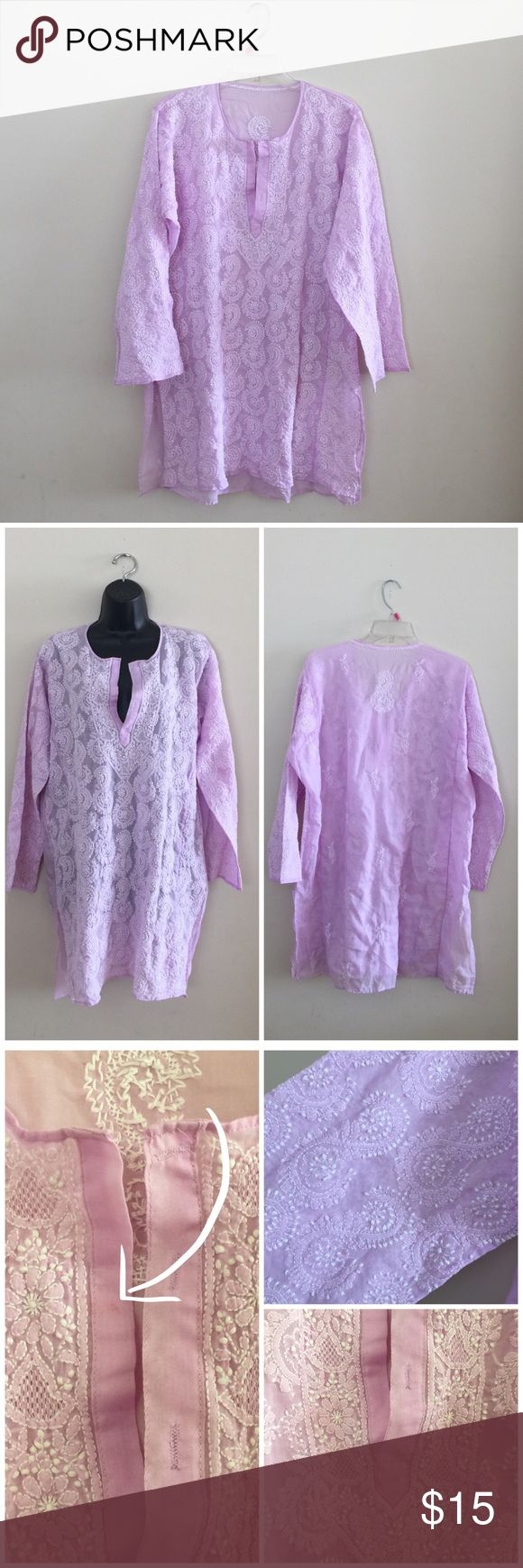 Handmade Indian tunic So cute! It's the perfect shade of purple, too. This was brought for India, but unfortunately, it does not fit me right. Best for a size 12/14 for that oversized look. Sheer, with sleeves a little longer than 3/4. Has a tiny stain in the front, as shown in photos.   ❌No trades/swaps ❌No PayPal 🐶Pet friendly home 📫I ship M, W, & F 🚭Smoke free home  ❗️24 hour reservations  🛍Bundle 2+ items for a discount  ‼️My bundle discount is set to help out with the new shipping…