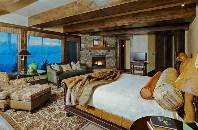 """Lovely bedroom in """"Ski Dream Home"""" on Little Baldy Peak in Utah.  Not the best color scheme, but wonderful view and comforts."""