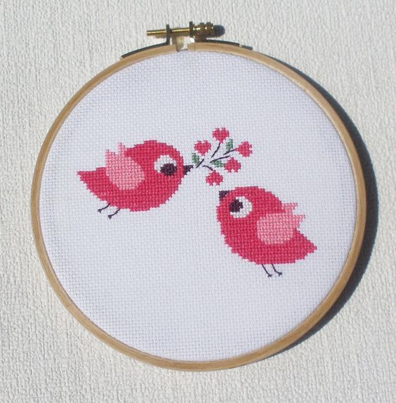 Birds in love is a pattern, not the completed work. I designed it myself. On 16-count aida the design measures 4.6*3.0 inches. Sizes will change with count size. Design used 5 DMC thread colors. This pattern is in PDF format and consists of a floss list, and a color symbol chart. If you have any questions about this pattern, please ask me. I will contact you with any further instructions when order is received. After the payment successfully processes, the buyer will receive an automatic ema